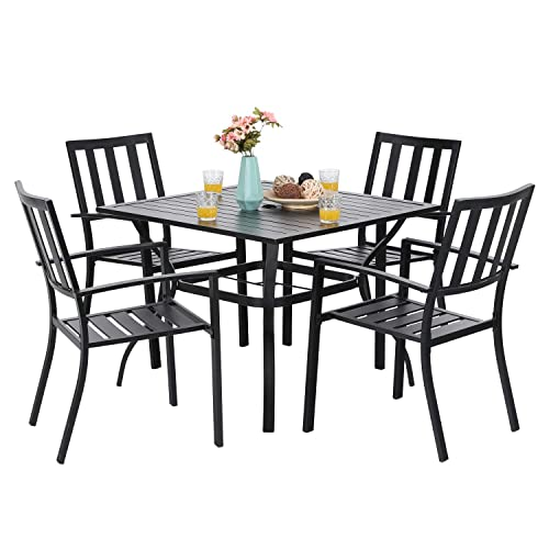 PHI VILLA 5-Piece Metal Patio Outdoor Table and Chairs Dining Set- 37 Square Bistro Table and 4 Backyard Garden Chairs, Table with 1.57 Umbrella Hole