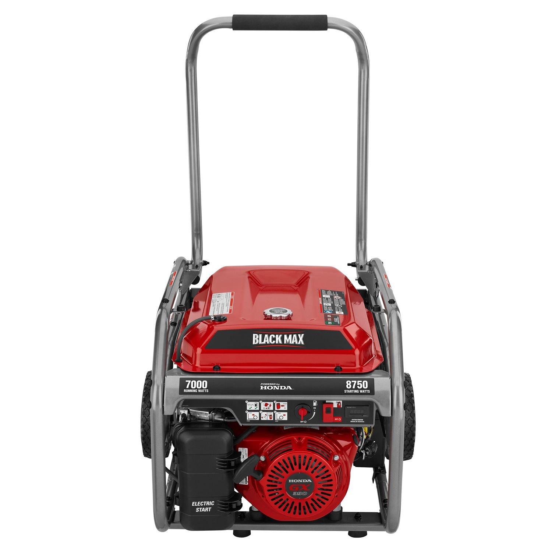 Amazon.com: Blackmax Honda Portable Gas Powered Electric Generator Outdoor  Camping With Electric Start 7,000w / 8,750w Watts: Garden U0026 Outdoor