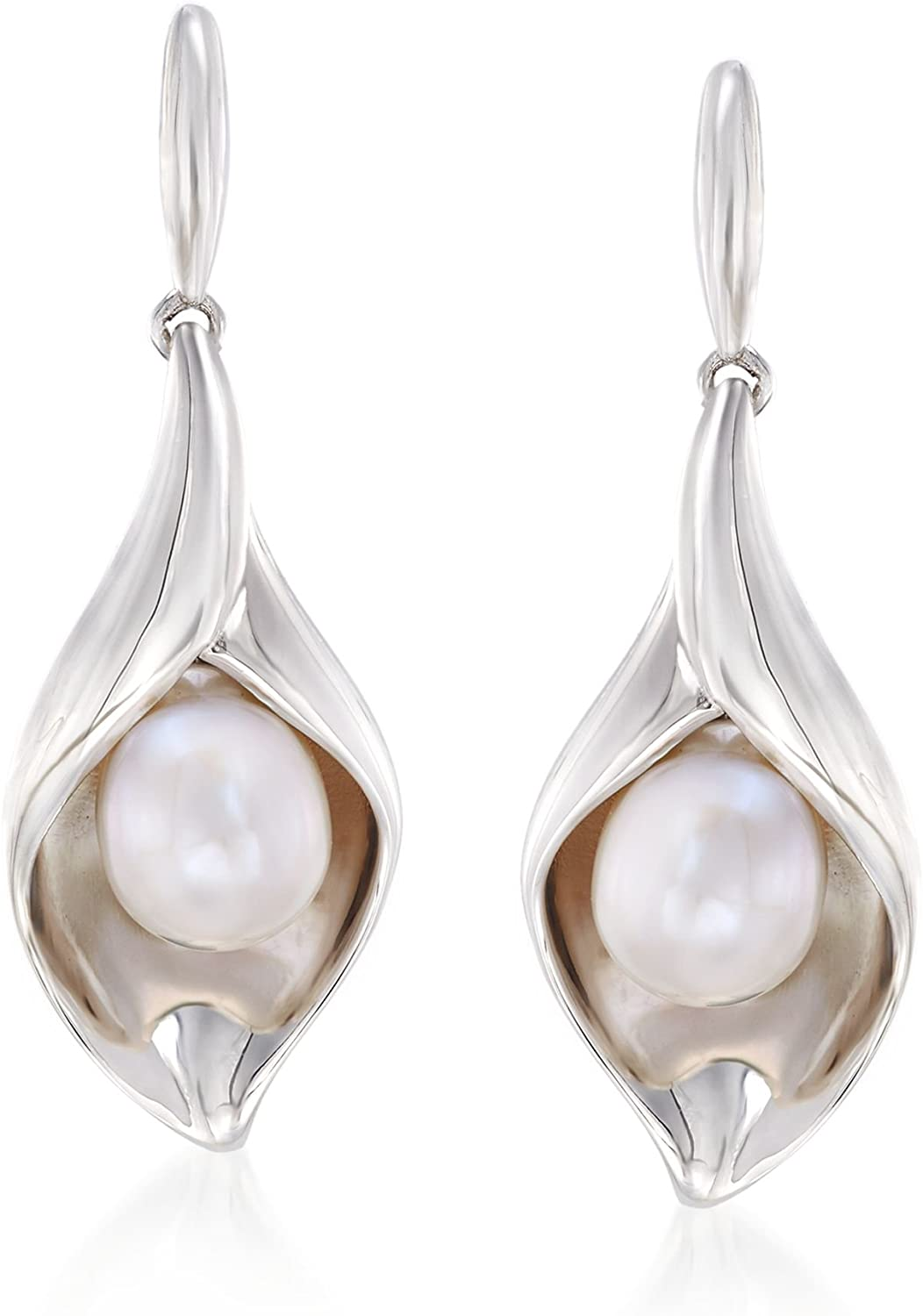 Ross-Simons 6.5-7mm Cultured Pearl Nature-Inspired Drop Earrings in Sterling Silver