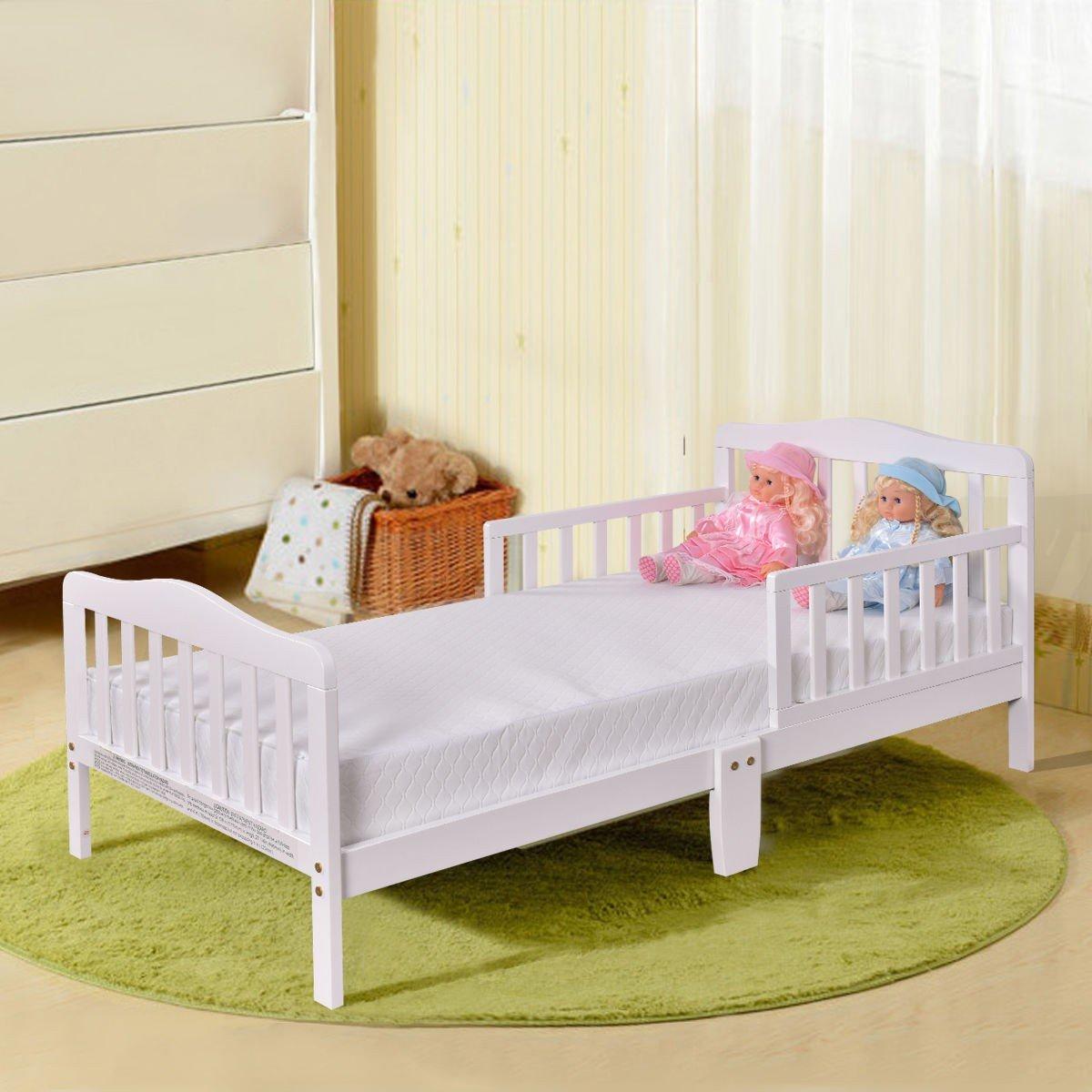 SKB family Pre Order Baby Toddler Bed Kids Wood Bedroom Furniture w/ Safety Rails, color White