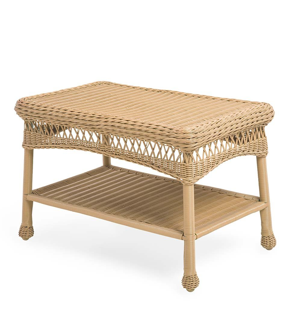 Plow & Hearth 39006-NT Easy Care Outdoor Furniture Resin Wicker Coffee Table, 29.5'' L x 17.5'' W x 18.5'' H, Natural