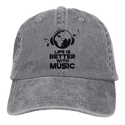 a1e8d823 Arsmt Life is Better With Music Denim Hat Adjustable Women's Surf Baseball  Cap