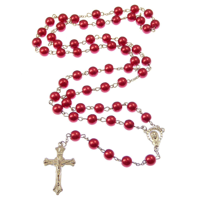 Heaven Longues rouges m/étalliques longues catholique chapelet avec notre centre Lady perles de 8mm R