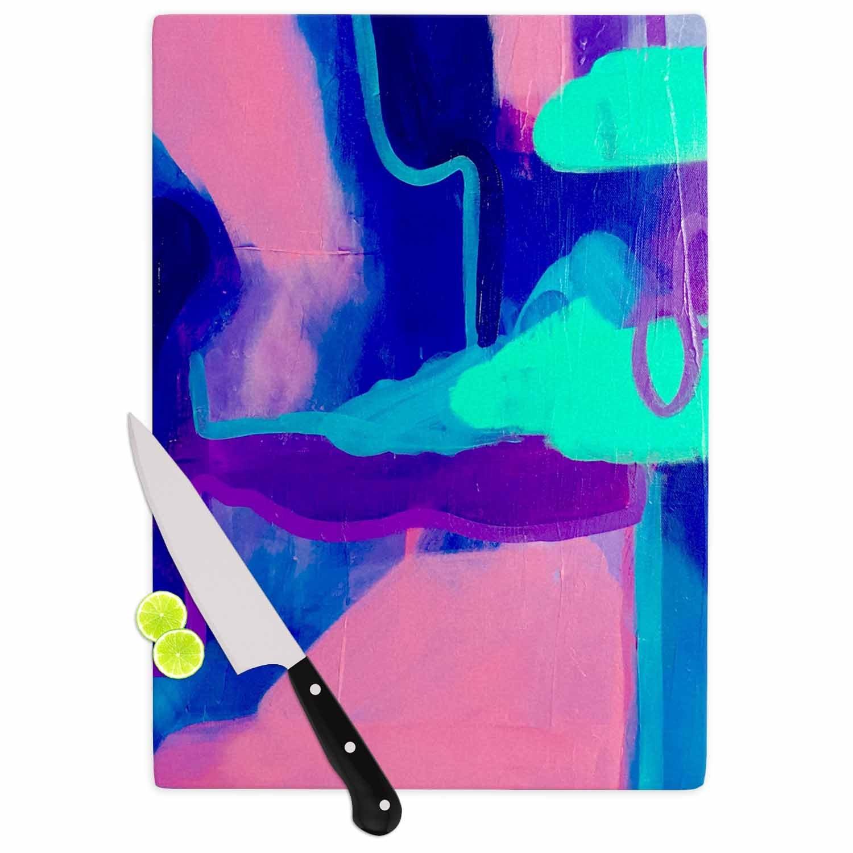 KESS InHouse Geordanna FieldsNeeded Me Blue Pink Painting Cutting Board 11.5 x 8.25 Multicolor