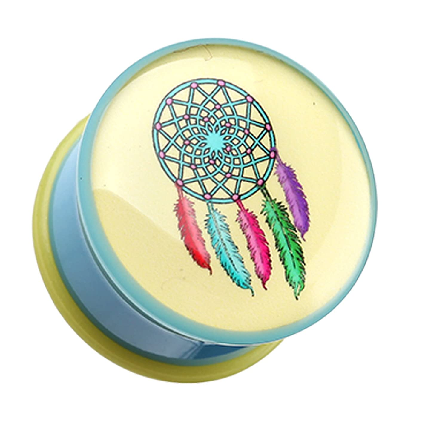 Plugs Retro Dream Catcher Single Flared Ear Gauge Plug Sold as a Pair Cosmic