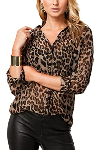 Mujeres Leopard Single - Breasted Sheer Bajar Cuello Blusa T Shirt