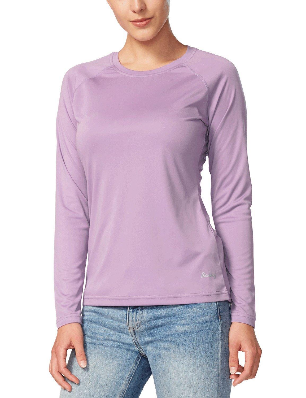 Baleaf Women's UPF 50+ Sun Protection Long Sleeve Outdoor Performance T-Shirt Purple Size XL