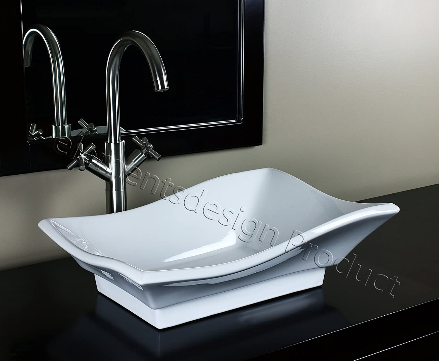Bathroom Ceramic Vessel Sink 7459L6 With Brushed Nickel Faucet Drain