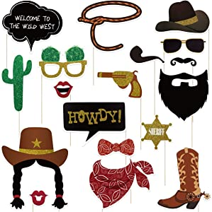 Tinksky 18 Pack Cowboy Photo Booth Props Western Photo Booth Sign Cowboy Party Decoration Accessory with Bamboo Sticks for Cowboy Birthdays,Cowgirl Party Supplies,Western Decorations