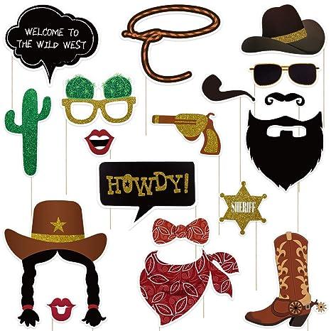BESTOYARD 18 Pack Cowboy Photo Booth Accessoires Western Photo Booth  Inscrivez-Vous Cowboy Party Décoration c313466fff1
