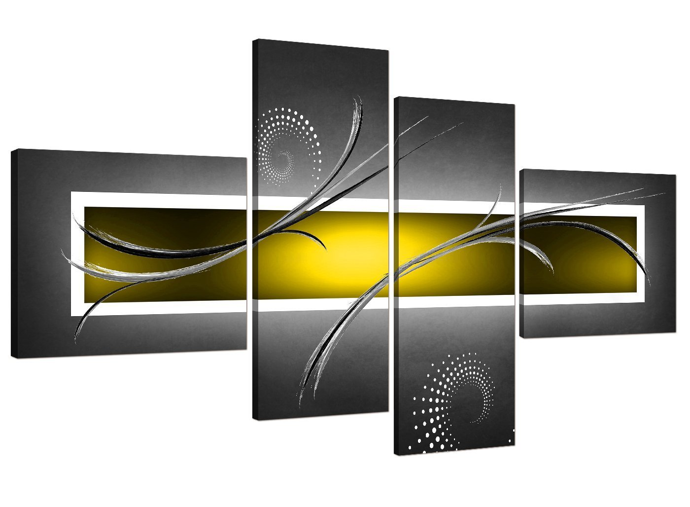 Yellow Grey White Modern Abstract Canvas - Split Set of 4 - 62 Inches Wide - 4259 - Wallfillers