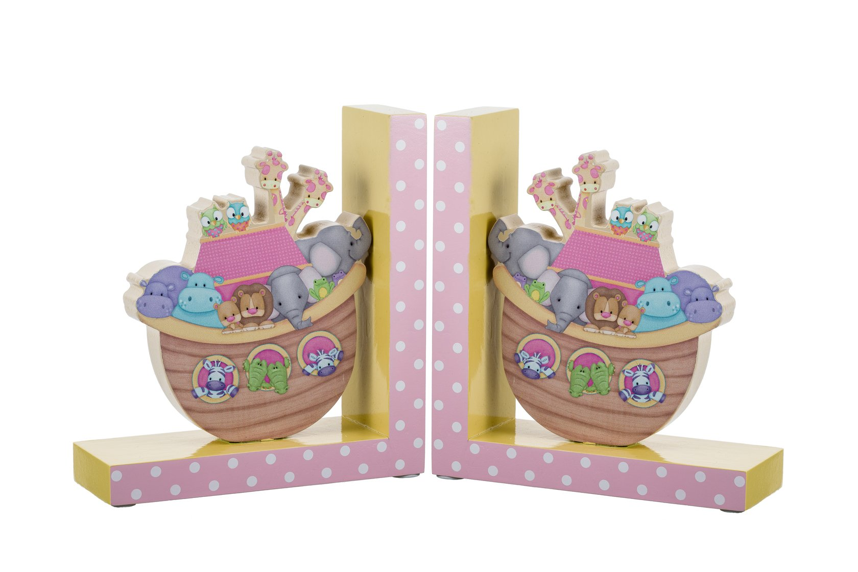 Borders Unlimited Noah's Pastel Pairs The Ark Wooden Children's Bookends by Borders Unlimited