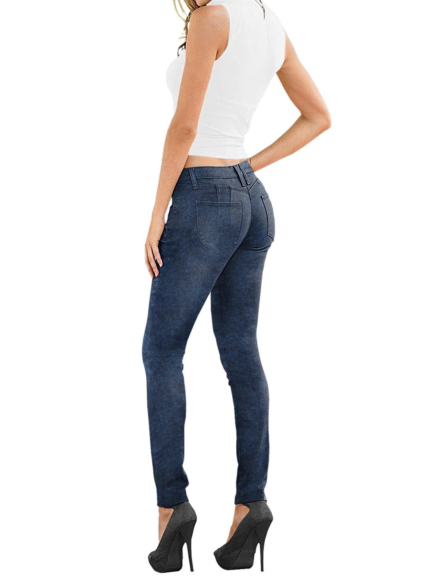Women's Super Comfy Stretch Denim Skinny Jeans XPS37381SK Blue Acid 10