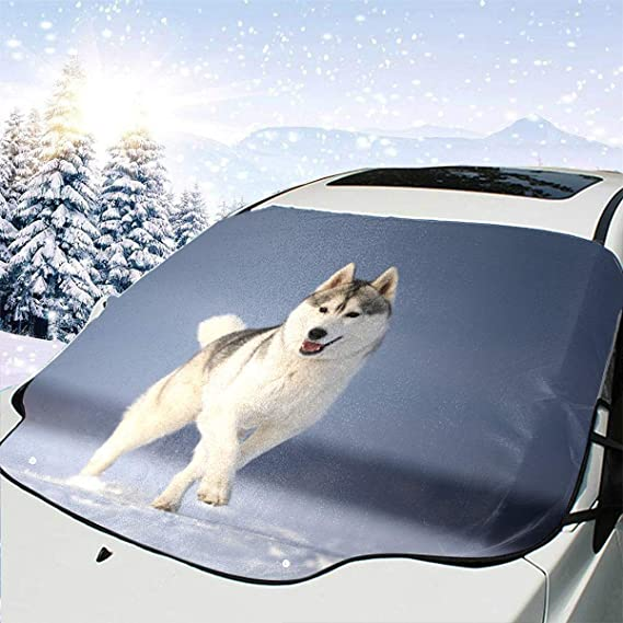 Car Window Shade Cute Dog Breed Siberian Husky Car Windshield Cover 57.9x46.5 Inch(147cmx118cm) for Most Vehicles by Protect The Windshield and Wiper from Sun,ice,Snow,Frost