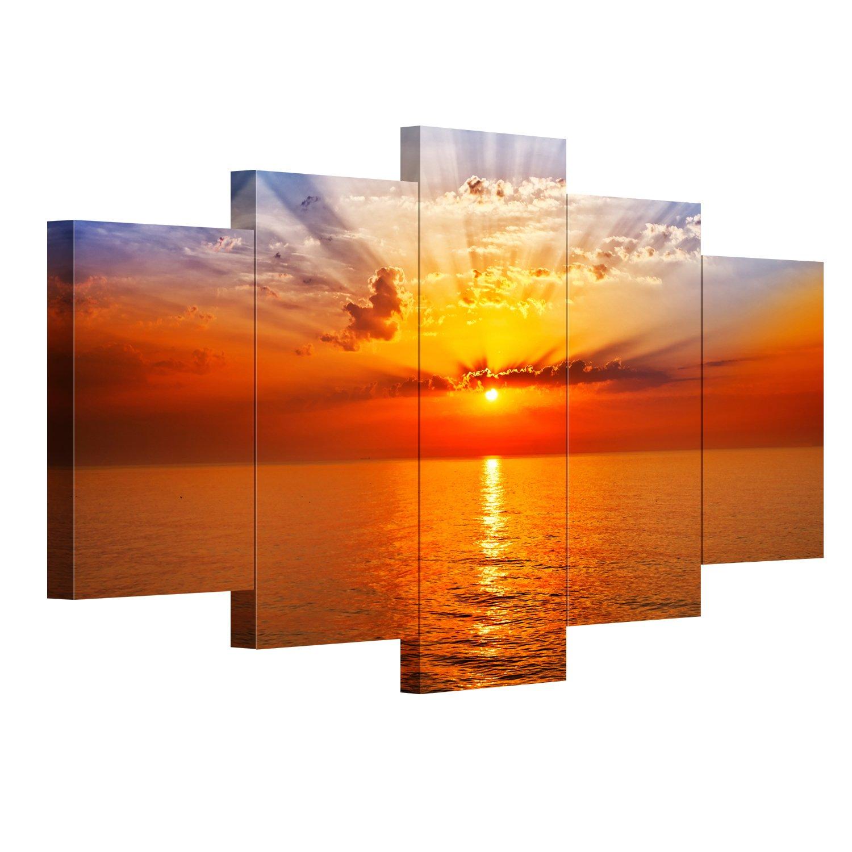 Royllent アートパネル モダン 現代 「海の景色」「夕方の海」 キャンバス絵画 5パネルセット インテリア 壁掛け 壁飾り(木枠付きの完成品) B01EC04U5Y F F