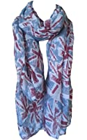 Union Jack Scarf, Denim Blue Colour, Mini UK British Flags Fashion Womens Souvenir Shawl