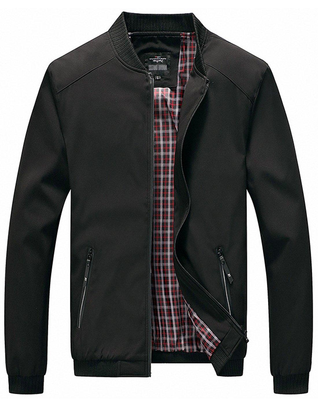 Tanming Men's Color Block Slim Casual Thin Lightweight Bomber Jacket (X-Large, Black-169) by Tanming
