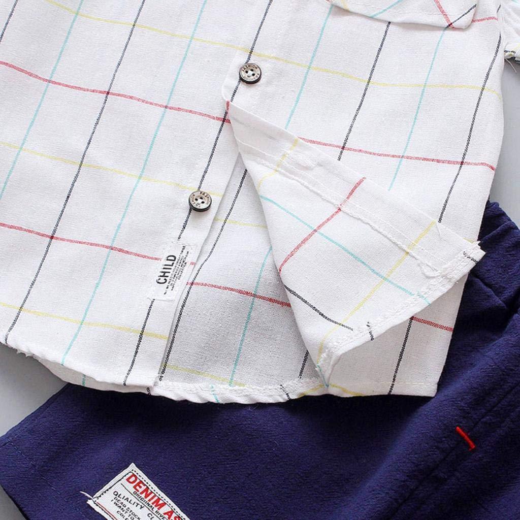 SAKAMU-Children Infant Kid Boys Plaid Print Blouse Tops+Pants Formal Party Set Clothes