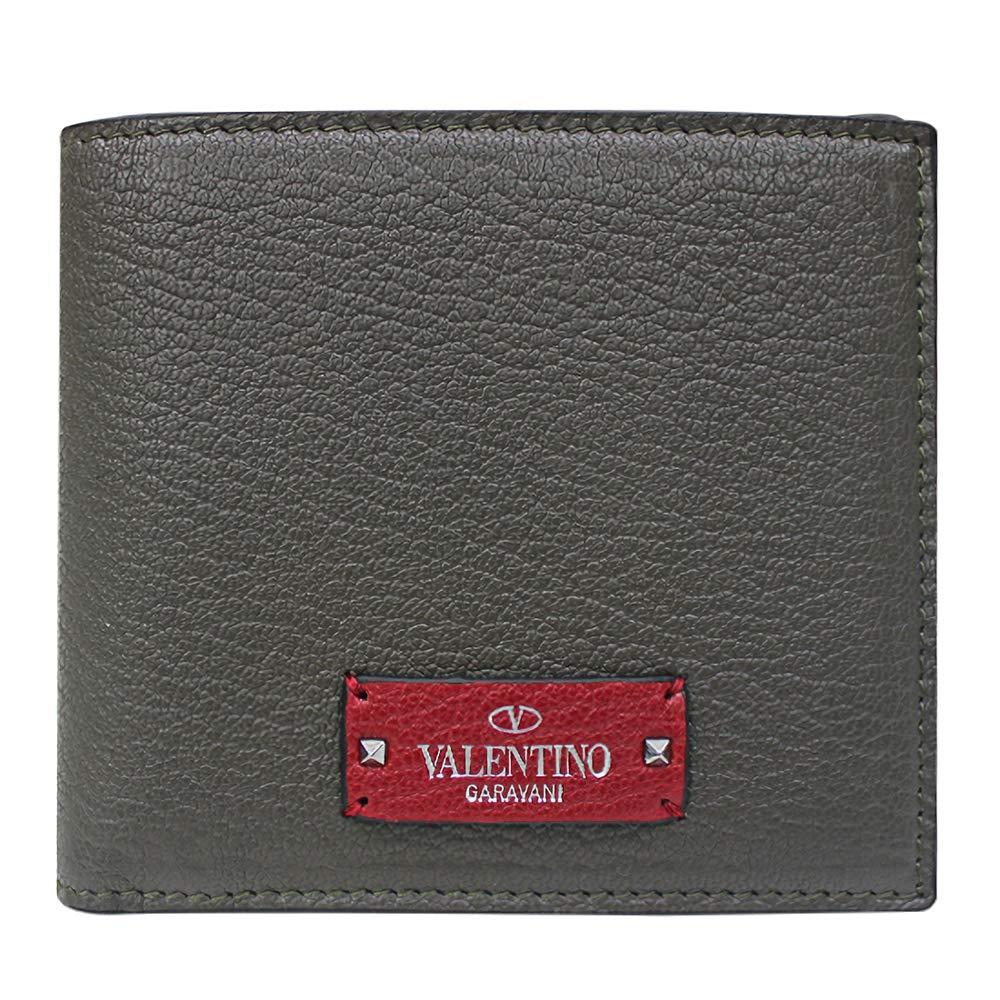 [ヴァレンティノ] [VALENTINO] メンズ レザー 二つ折り財布 レッドタグ 札入れ グレー レッド [並行輸入品] B07GNQJ69F  One Size