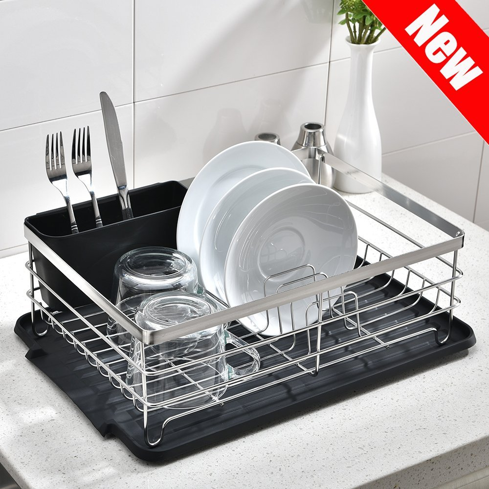 POPILION Quality Kitchen Sink Side Draining Chrome Stainless Steel Dish Drying Rack,Dish Rack With Black Drainboard