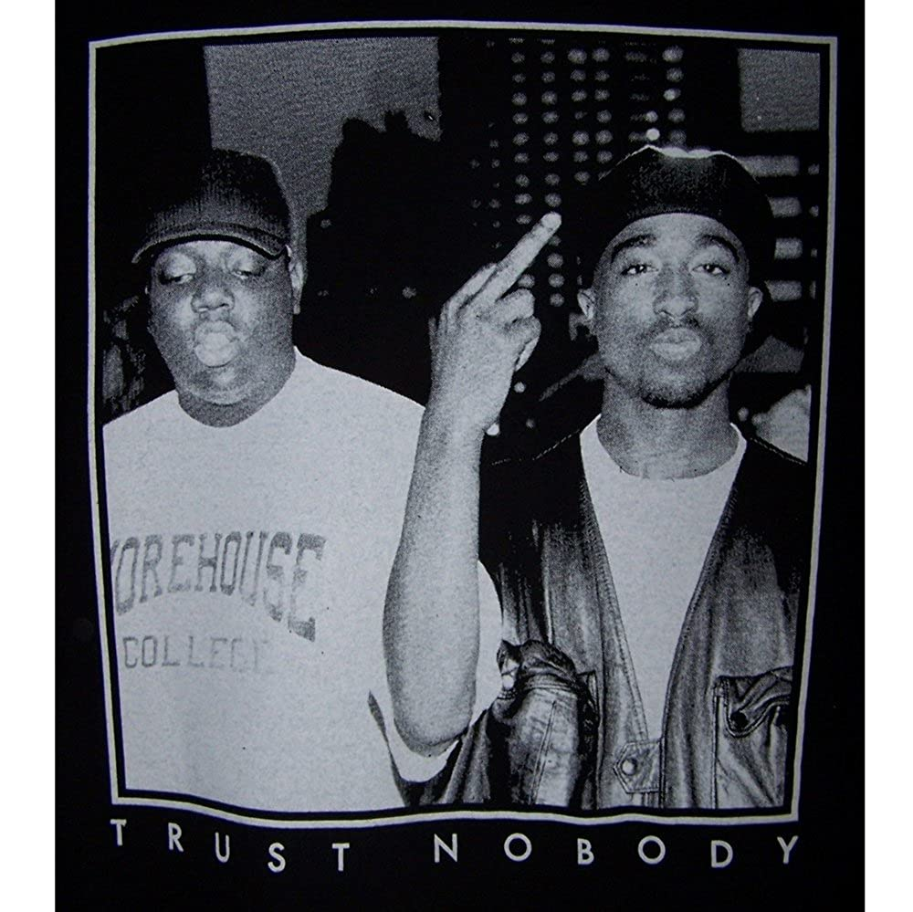 cbf0cf2663b Amazon.com  2Pac Tupac Shakur Biggie Big Trust Nobody Cotton T-Shirts M-XL  (HhTs8) Black  Clothing