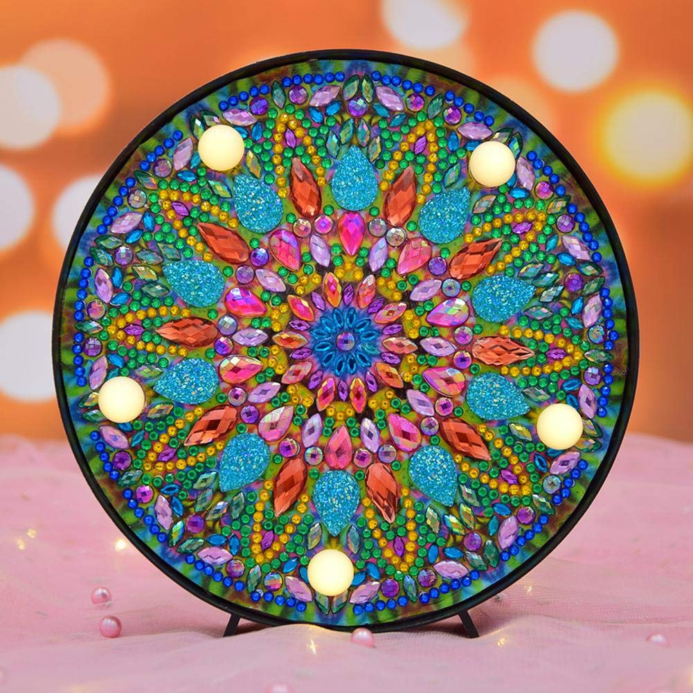 hnnew Pittura Diamante Kit Ricamo Kit Fai-da-Te Mandala LED Light Box Cross Stitch Lampada Home Decor