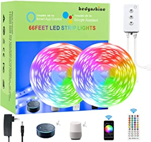 65.6 FEET Smart LED Strip Lights,Hedynshine RGB Light Strips 24V 44key Remote Controller, Work with Alexa/Google Home