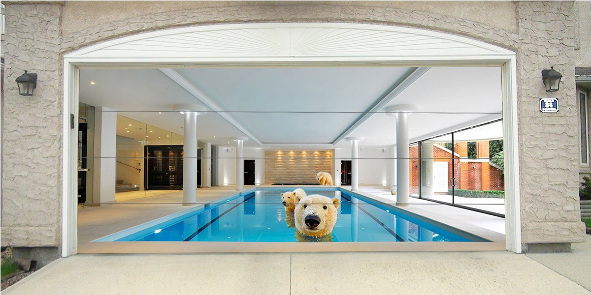 Re-Usable 3D Effect Garage Door Cover Billboard Sticker Decor Skin -Polar Bear in Pool- Sizes to fit your Garage.