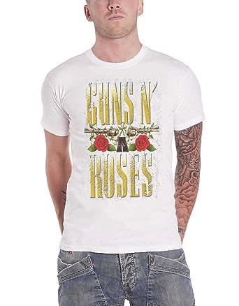 Guns N Roses T Shirt Big Guns Band Logo Official Mens White Amazon