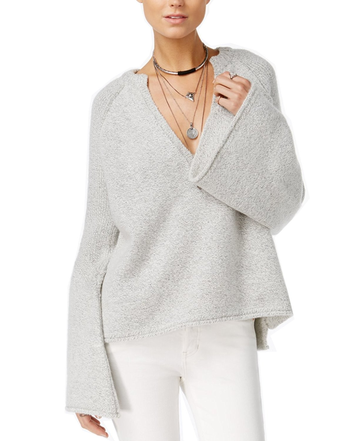 Free People Women's Lovely Lines Bell Sleeve Sweater (Large, Ivory)