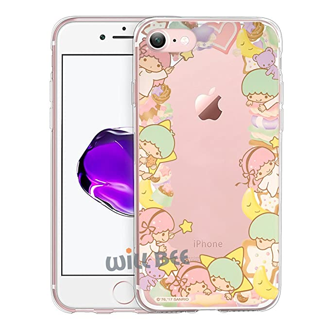 sports shoes d6140 fdb76 iPhone 8 Plus/iPhone 7 Plus Case Little Twin Stars Cute Border Clear Jelly  Cover for [ Apple iPhone 7 Plus/iPhone 8 Plus ] Case - Border Little Twin  ...