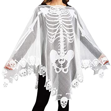 60x60 Inch Halloween Poncho White Lace Skeleton Poncho Scarf for Women Costume