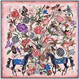 JIUMAN Womens Extra Large 100% Twilled Silk Square Scarf Luxury Scarf Designer Scarf Gift Shawl Wraps 51x51 Inches (Pink)