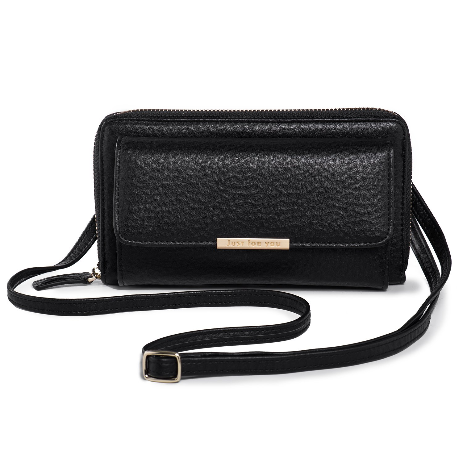 Crossbody Wallet Women Cellphone Purse PU Leather Clutch Handbag with Flap Pocket + Katloo Nail Clipper K_KL360-Black