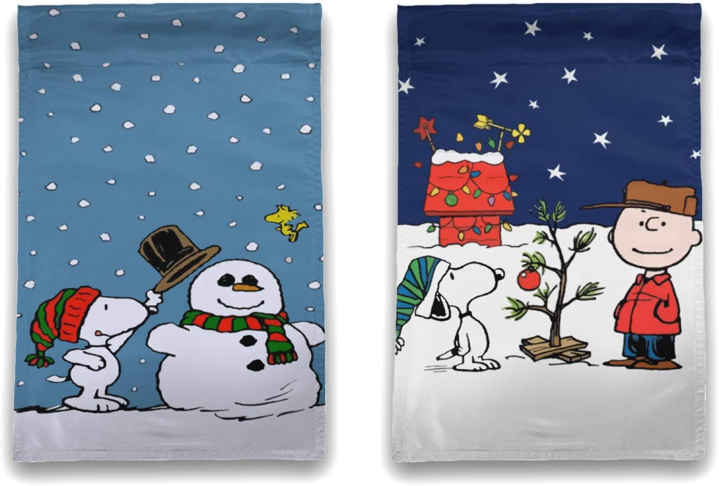 WOMFUI Peanuts Charlie Brown Christmas Garden Flag Different Patterns on Both Sides Outdoor Flags 12×18 Inch