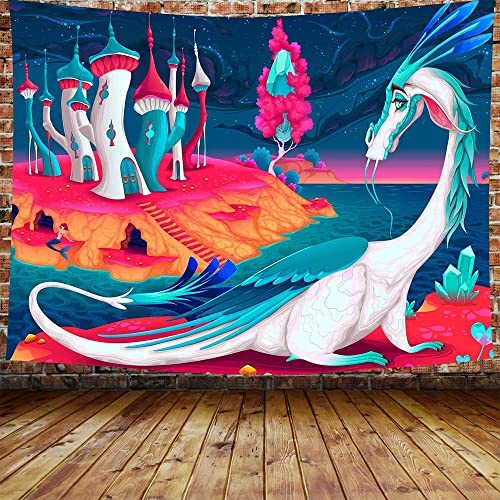 Cartoon Castle Kids Castle Landscape Tapestry Dragon in A Fantasy World Tapestries Wall Hanging Flower Mermaid Tapestry Wall Hanging Indian Dorm Decor Living Room Bedroom 80 60 inches DBLS745