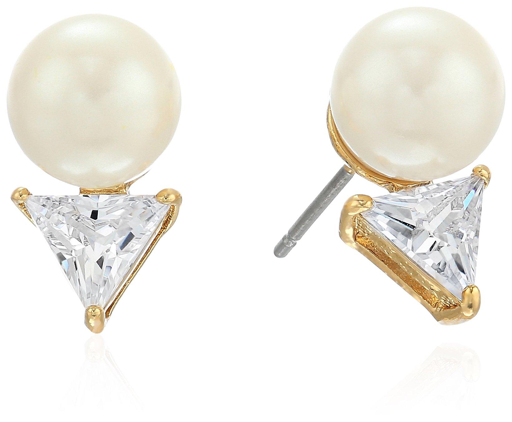 kate spade new york Triangle Pearl Clear Stud Earrings