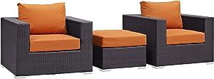 Modway Convene Wicker Rattan 3-Piece Outdoor Patio Furniture Set in Espresso Orange