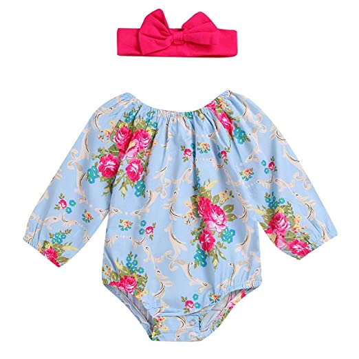 98caca28b9e Kehen Newborn Baby Girls Floral Print Long Sleeve Romper with Headband  Infant Jumpsuit Outfit Playsuit Spring