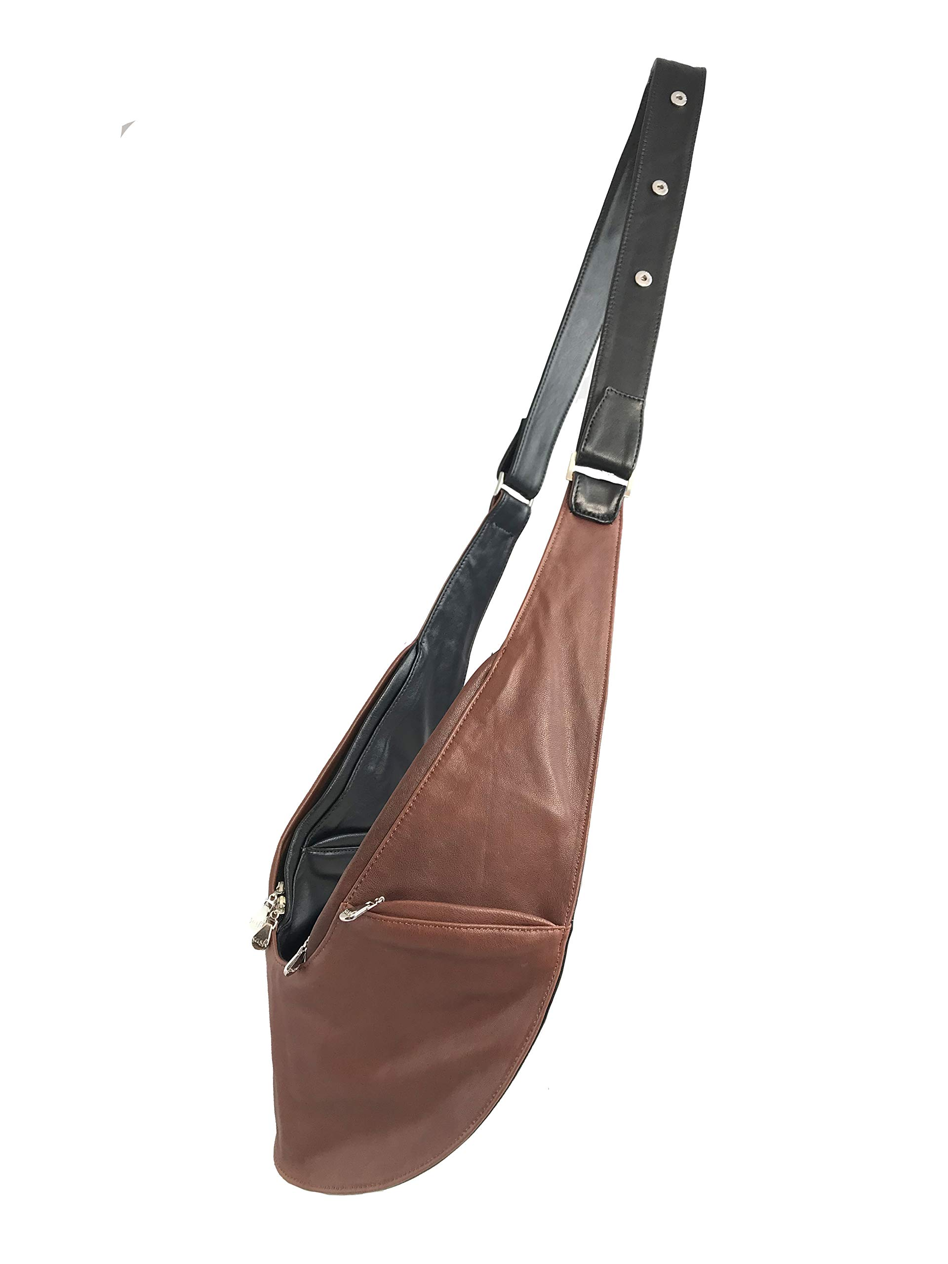 Womens Crossbody Bag by SASH - Over The Shoulder Cross Body Purse (Black/Brown Genuine Leather)