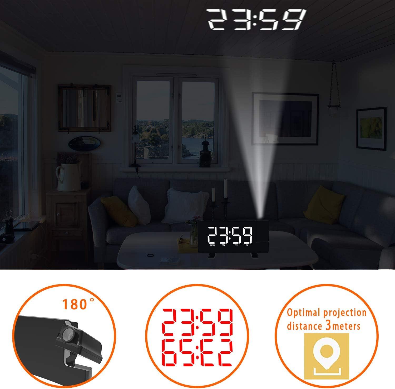 Radio Despertador Digital Proyector, FM Reloj de Proyección, Despertadores Digitales, Reloj de Pantalla Curva LED de 7 Pulgadas y Atenuador, Alarma ...