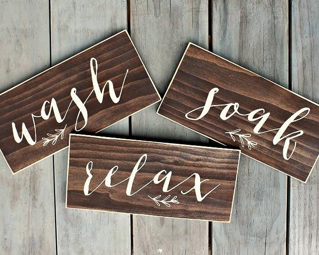 Rustic Wash Soak Relax Bathroom Signs Set Of 3