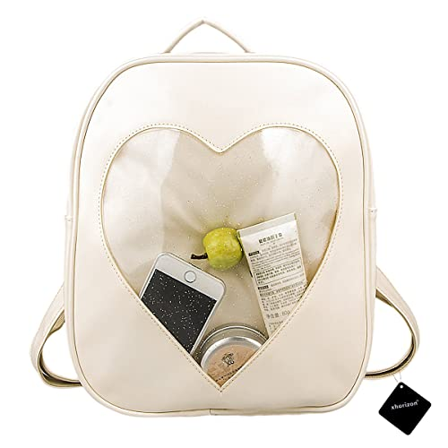 ac527132df5c xhorizon TM FL1 Candy Leather Backpack Plastic Transparent Heart Beach Girls  School Bag (Beige)