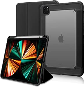 FYY Case for iPad Pro 11 2021/2020, [Support 2nd Pencil Charging and Auto Wake/Sleep] Slim Trifold Stand Protective Case Cover with Pencil Holder for iPad Pro 11 Inch 3rd Gen 2021/2nd Gen 2020 Black
