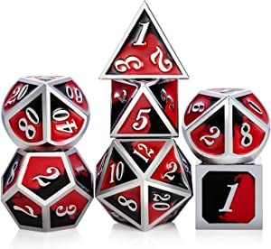 Metal Game Dice Set D&D,DNDND Heavy Metallic DND Dice Set with Grogeous Gift Metal Tin for Dungeons and Dragons Tabletop Games Blender Red and Black