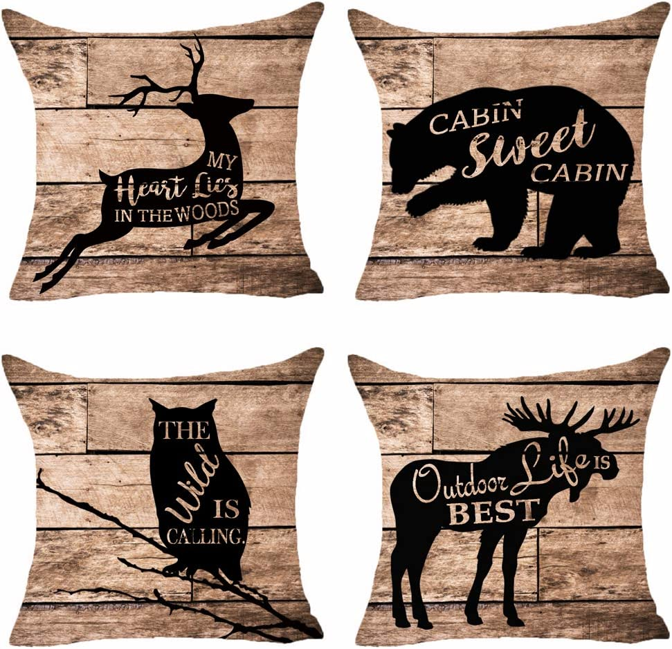 SOPARLLY Set of 4 Animal Deer Bear Owl Moose Cabin Sweet Cabin The Wild is Calling Retro Wood Grain Pillows Cotton Linen Decorative Home Office Throw Pillow Case Couch Cushion Cover 18X18 inches