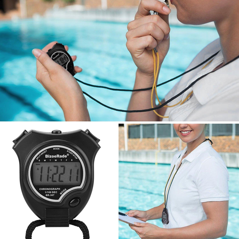Negro Cron/ómetro bizoerade F/ácil Cron/ómetro pantalla grande mano Held Digital Cron/ómetro para Sports Entrenamiento bizoerade