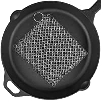 Cast Iron Cleaner 8''x6'' 316L Premium Stainless Steel Chain Scrubber for Cast Iron Pan Pot Dutch Ovens Skillet Grill…