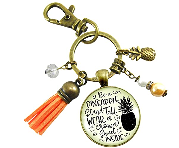 Amazon.com  Pineapple Keychain Stand Tall Glam Quote Women s ... 525e01bf34