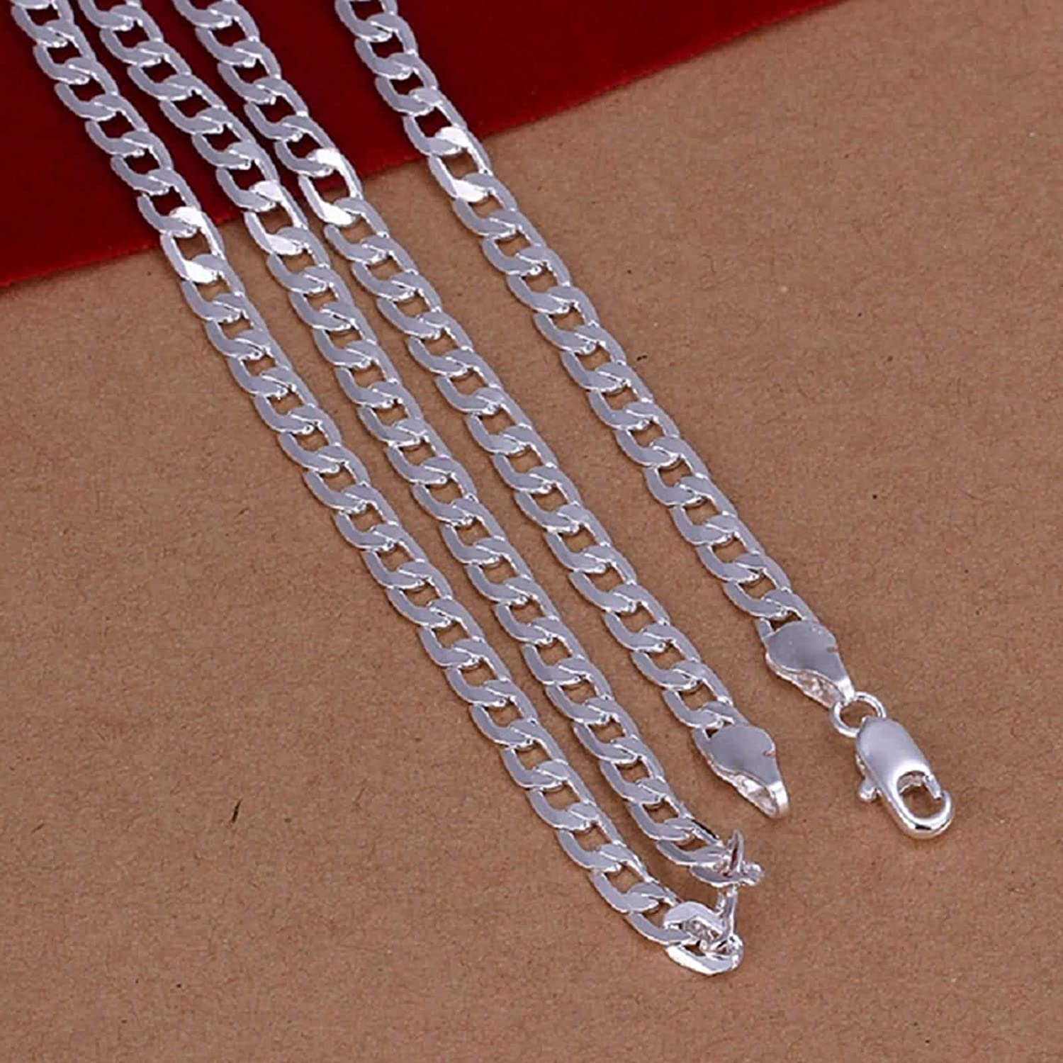 Aokarry Men Simple Curb Chain Necklace Silver Plated 60CM//24IN